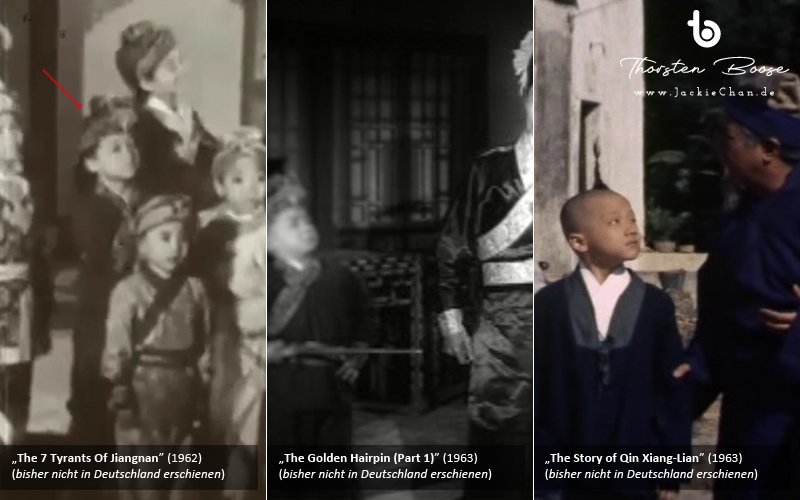 Mit einem leicht nach oben zur Seite gedrehten Kopf erkennt man einen in den ersten beiden Filmen noch mit leichtem Babyspeck behafteten Jungdarsteller, der mimisch sehr an Jackie Chan erinnert.