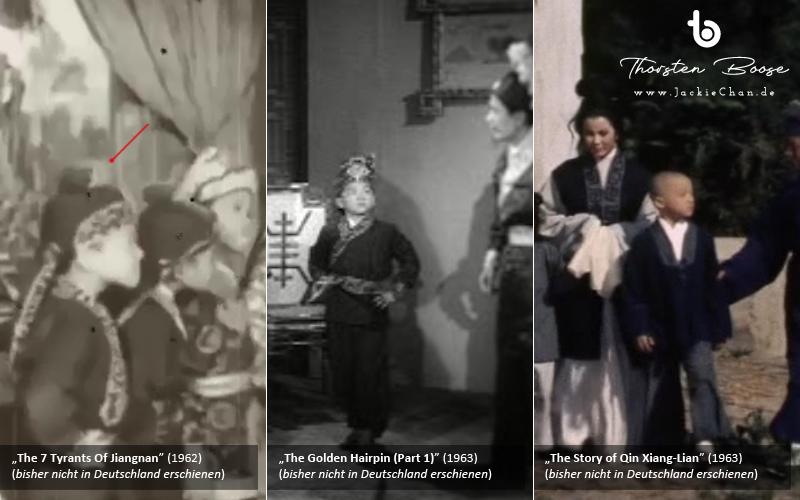 Zum Vergleich gibt es hier zwei Szenen, in denen der junge Chan (links) und der Jungdarsteller, der ihm ähnelt (mitte), seine Hände in die Hüften stemmt.