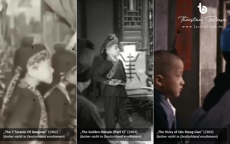 Und zuletzt Aufnahmen aus allen drei Filmen, die den jungen Chan und den Jungdarsteller, der ihm ähnelt, im Profil zeigen.
